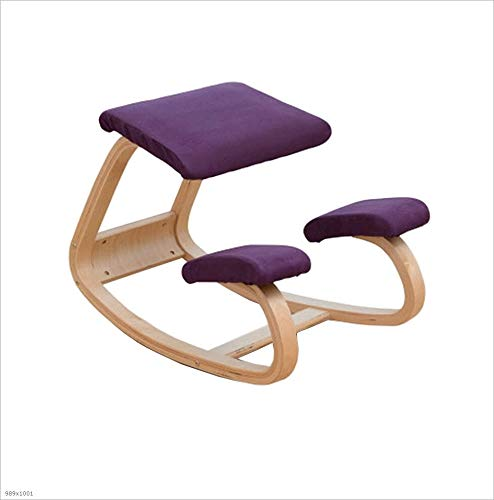 Lila Hocker Stuhl, Massivholz Reiten auf einem Stuhl Computerstuhl Korrekte Sitzposition Wirbelsäulenkorrekturstuhl Yoga-Stuhl Kniender Stuhl Studentenstuhl Modernes Einfachheitskind Lernstuhl Hoch 50cm La