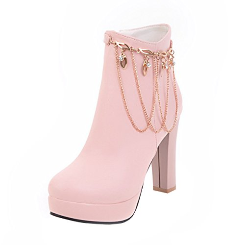 YE Damen Blockabsatz Ankle Boots Stiefeletten High Heels mit Reißverschluss und Fransen 10cm Elegant Glitzer Schuhe Rosa
