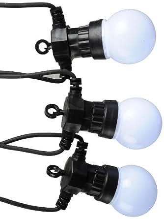 Kaemingk 490183 - Guirnalda de bombillas led (uso en exteriores, luz blanca fría, 20 unidades con 5 ledes cada una, transformador IP 44, cable negro de 9,5m, cable de alimentación de 5 m)