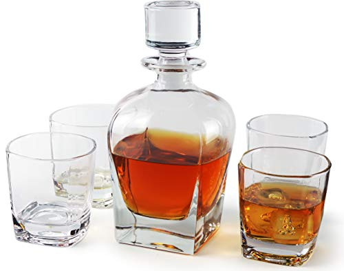 Monarch 5 Piece - Circleware Monarch 5 Piece Set of 24 oz Decanter and 4 Whiskey Glasses of 9 oz