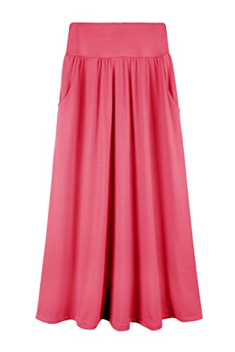 Bello Giovane Girls 7-16 Years Solid Maxi Skirt With Side Pockets (Large, Coral)
