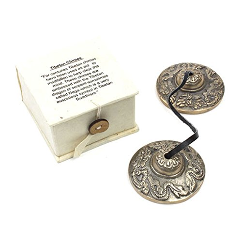Tibetan Buddhist Hand Chimes(Tingsha) with embossed Auspicious Tibetan Dragons;62mm Diameter. Comes in a Red Satin Drawstring Pouch by Spiritual Gifts