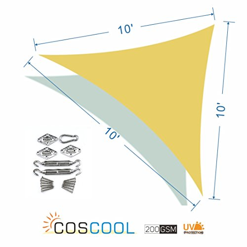 Clearance, CosCool Sun Shade Sail Regular Triangle Fabric Patio Shade Sails Canopy 200gsm HDPE Material UV Block 5 Years Warranty, Size 16x16x16 Feet