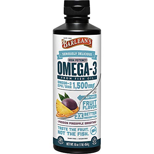 Cheap Barlean's Seriously Delicious Omega-3 High Potency Fish Oil, Passion Pineapple Smoothie, 16-oz