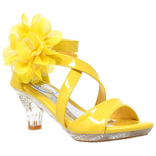 Sandals Dress Yellow (Generation Y Kids Girls Dress Sandals Strappy Rhinestone Flower Clear Low Heel Shoes Yellow SZ 2 Youth)