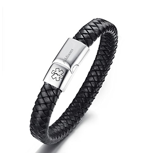 Addison Leather - LiFashion CL Men's Genuine Braided Leather Medical ID Addisons Alert Bracelet with Magnetic Clasp Emergency