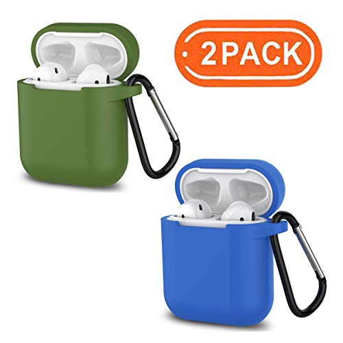 AirPods 2 case, 360° Protective Silicone AirPods Accessories kit Compatible with Apple AirPods 1/2 Charging case [Not for Wireless aipods](Olive Green + RoyalBlue)