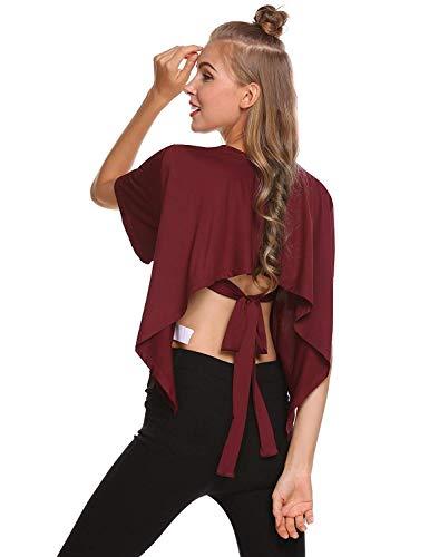 Bouffant Uni Confortable Mode Bowknot Rond Shirts Courtes Manches T Bandage Chic BOLAWOO Winered Tshirt Button Femme Manche Haut lgant Col Et Shirt PwzaHxzqX