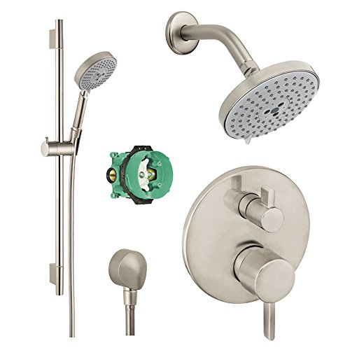 (Hansgrohe KSH04447-27495-66BN Raindance Shower Faucet Kit with Handshower Wallbar PBV Trim with Diverter and Rough, Brushed Nickel)