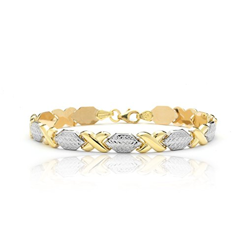 8 Inch 10k Two-Tone Yellow and White Gold Stampato Xoxo X & O Hug and Kiss Chain Bracelet by SL Gold Imports