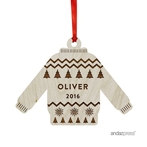 Andaz Press Personalized Laser Engraved Wood Christmas Ornament with Gift Bag, Ugly Sweater Style 1, 2018, Sweater Shape, 1-Pack, Custom Name