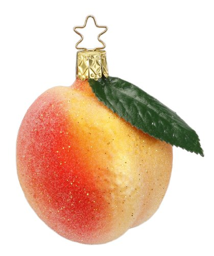 Inge Glas Peach 1-133-14 German Blown Glass Christmas Ornament