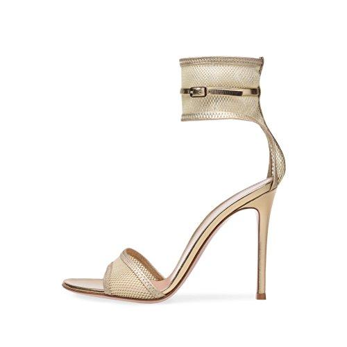Tiras del Hebilla Corte Beige CLOVER De Zapatos Alto Mujeres Sandalias del Partido Toe del Zapatos Correa Encaje De Bloque Peep del Las Sandalias Bombas A De Talón LUCKY Tobillo La EU40 De gqxUA88