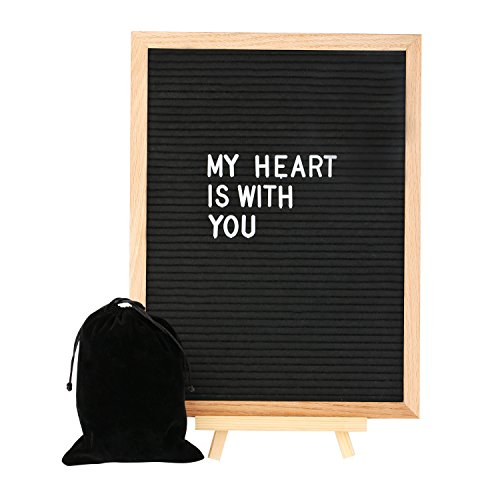 Black Felt Letter Board 12 x16 Inches, Large Changeable Letter Boards Include 680 White Plastic Letters,Oak Frame, Numbers,Symbols,Emojis with Plus Free Letter Bag