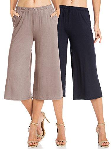 Fashion California Womens 2 Pack Elastic Waist Jersey Culottes Capri Pants with Pockets (Medium, Mocha/Navy) ()