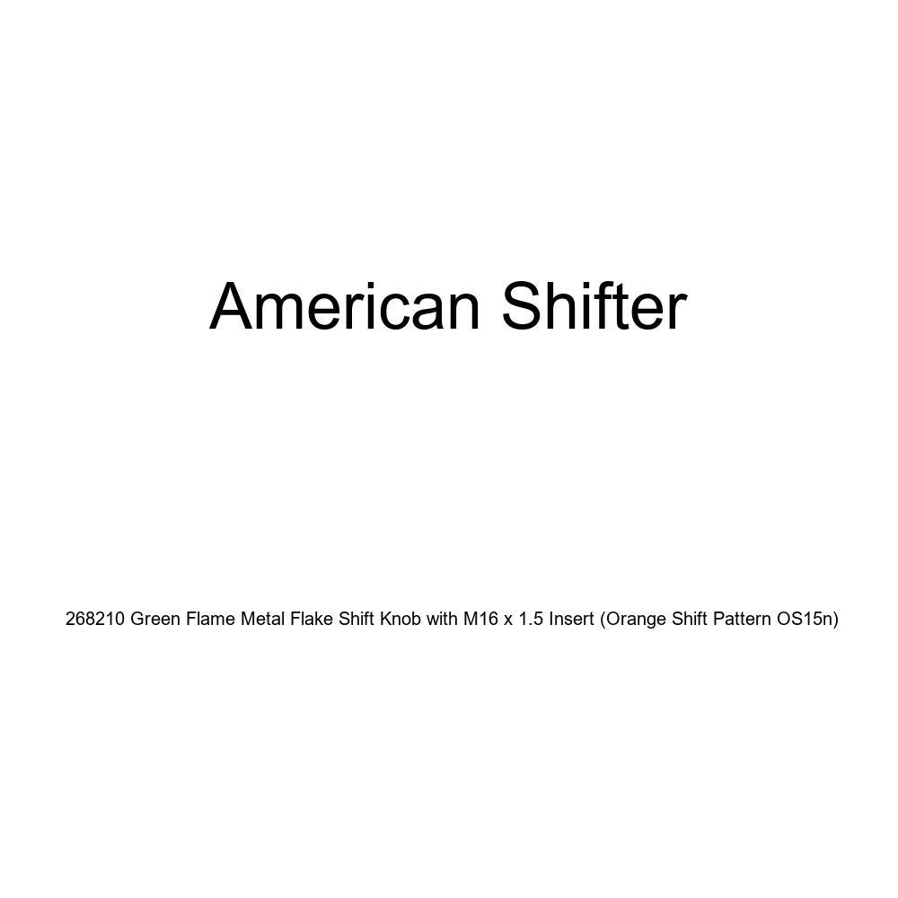 Orange Shift Pattern OS15n American Shifter 268210 Green Flame Metal Flake Shift Knob with M16 x 1.5 Insert