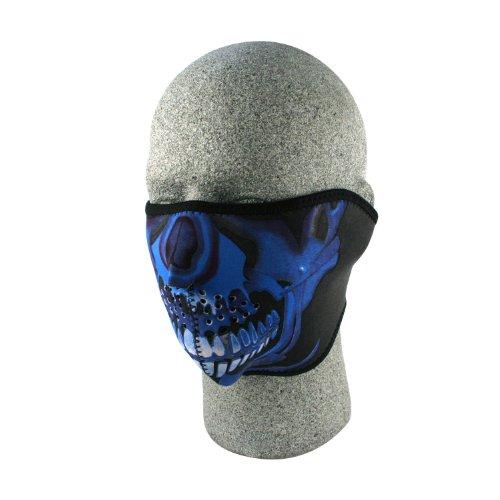 ZANheadgear Neoprene Half Skull Face Mask (Blue Chrome)