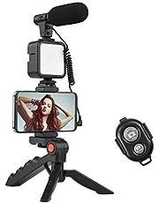 Andoer Phone Vlog Video Kit com suporte para tripé de mesa e microfone para sapata LED com obturador remoto de luz de vídeo LED
