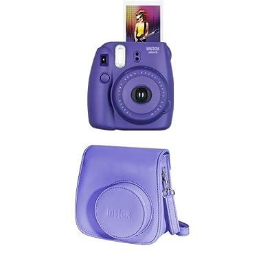 Fujifilm Instax Mini 8 Instant Film Camera + Instax Groovy Camera Case (Grape)