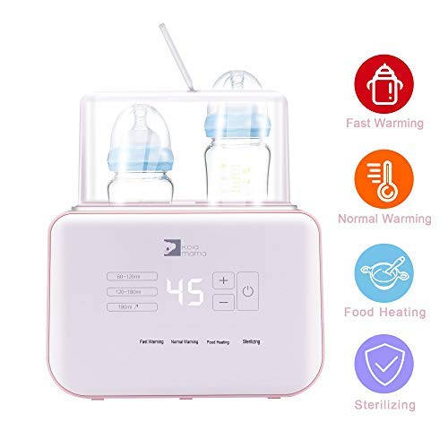 KOLAMAMA Baby Bottle Warmer, Bottle Steam Sterilizer, Baby Food Heater & Smart Thermostat Warmer 4 in 1 Multifunctional Bottle Warmer with Auto Power-Off and Precise Temperature Control