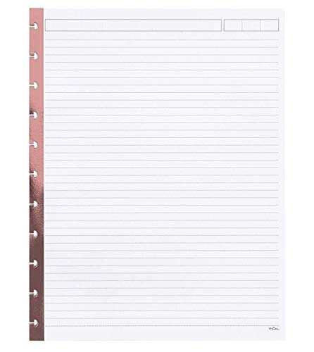 TUL Limited Edition, Reinforced Metallic Edge, Narrow Ruled, 100 Refill Pages (50 Sheets) (Rose Gold Foil, 8.5'' x 11'' Letter) by TUL