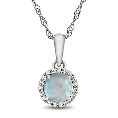 Finejewelers 10k White Gold 6mm Round Created Opal with White Topaz accent stones Halo Pendant Necklace