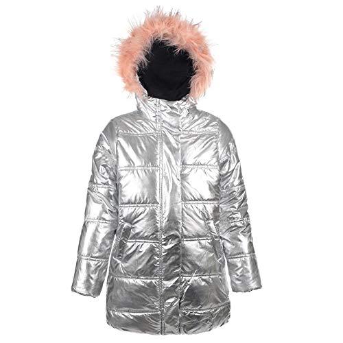 7a1df6731 Amazon.com: Urban Republic Big Girls Silver Faux Fur Trim Hooded ...