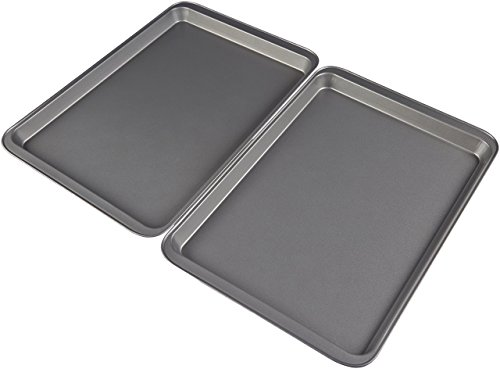 AmazonBasics Nonstick Carbon Steel Half Baking Sheet - 2-Pack by AmazonBasics