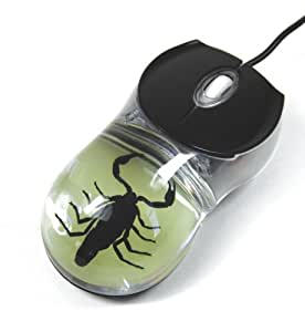 Dyed Black Scorpion Computer Mouse with Glow in the Dark Background