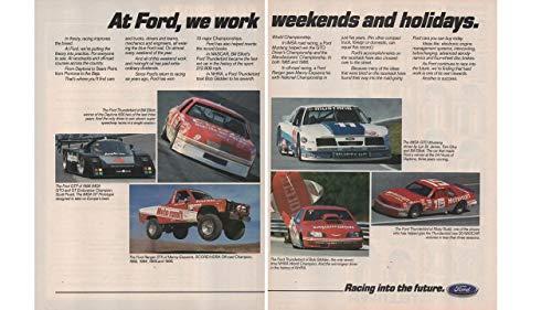 "Magazine Print Ad: 1987 Ford Racing - Bill Elliott, Ricky Rudd, Bob Glidden Ford Thunderbird-Manny Esquerra Ranger STX-Davey Allison-IMSA GTO Mustang Lyn St James, Tom Gloy, ""At Ford We Work Weekends and Holidays"", 2 pages"