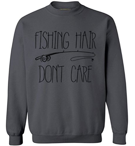 Awkward Styles Unisex Fishing Hair Don`t Care Sweatshirts Crewneck with A Fishing Rod Charcoal S