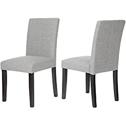 Merax WF015973 Classic Set of 2 Fabric Dining Chairs with Solid Wood Legs