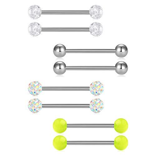 FECTAS 14G Nipplerings Piercing Barbells Surgical Stainless Steel Straingt Barbell Nipple Tongue Rings - Metal Top Bar