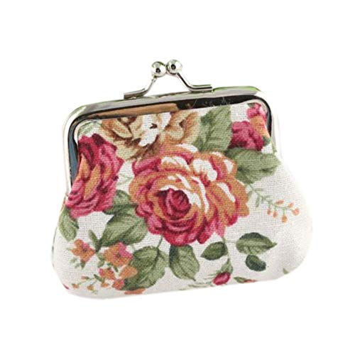 ❤️ Sunbona Coin Purse keychain for Women Lady Retro Vintage Flower Small Wallet Handmade Hasp Purse Clutch Bag (White) by Sunbona (TM) (Image #3)