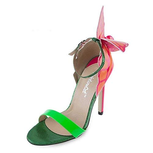 fcaf6093f491 Whitleys RainbowCat Sexy Color Block Butterfly Design Open Toe Ladies High  Heel Sandals  Amazon.in  Shoes   Handbags