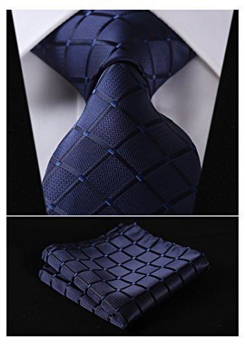 HISDERN Plaid Tie Handkerchief Woven Classic Men's Necktie & Pocket Square Set (Navy Blue)