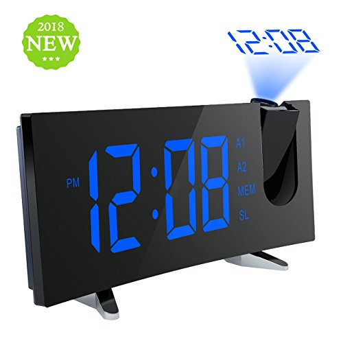 "Projection Clock, Pictek 5"" Curved-Screen Projection Alarm Clock, Digital Dimmable Projection FM Clock with USB Charging, Dual Alarm, Battery Backup"