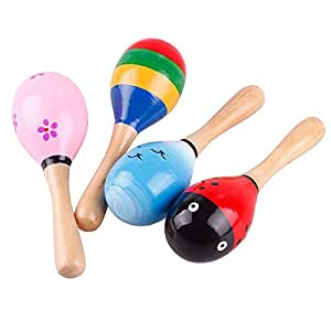 Niome New Hot Wooden Maraca Wood Rattles Kid Musical Party Favor Child Baby Shaker Toy