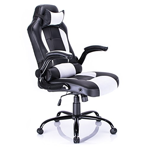 Aminiture Big and Tall Gaming Chair, High Back Recliner Chair,PU Leather Computer Chair,White Swivel Office Chair with Lumbar Support by Aminiture
