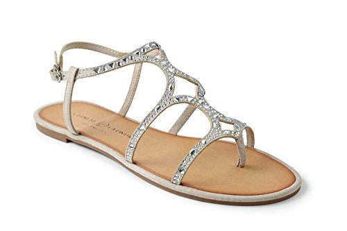 Chinese Laundry Womens Gianna Split Toe Casual Slingback Flats Sandals Beige Size 7.0 M US
