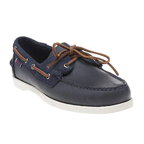 (Sebago Mens Portland Winch Docksides Leather Boat Shoes Navy 9.5 US)