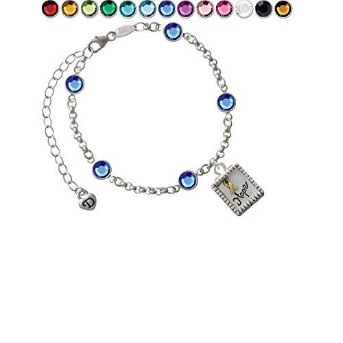 Shadow Box ''Hope'' with Goldtone Ribbon Custom Crystal Color Fiona Charm Bracelet