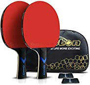 Ping Pong Paddle & Table Tennis Set - 2 Premium Table Tennis Rackets with Super Tacky Tennis Racquet Grip
