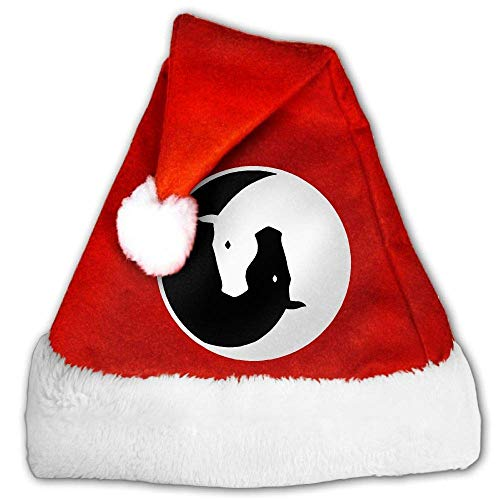 Red and White Christmas Hat, Naughty Yin Yang Horses Christmas Headbands for Childrens and Adults (2 PCS) (Pimp Hat Velvet)