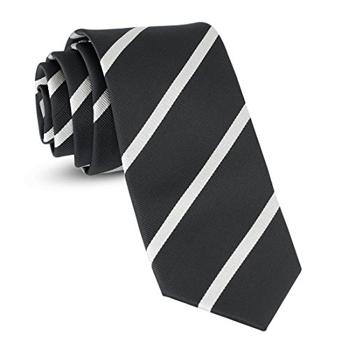 Handmade Striped Ties For Men Skinny Woven Slim Rep Black & White Mens Stripes Tie: Thin Necktie, Stylish Neckties For Every - Stripes Mens Necktie