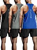 Bafly Men's 3 Pack Workout Tank Tops Dry Fit Y-Back Gym Muscle Sleeveless Training Tank