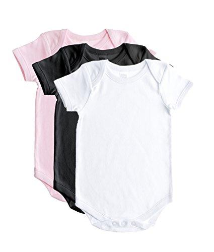 Baby Jay Cotton Onesies - Short Sleeve Lap Shoulder - WSSE Pink Blk White 6-12