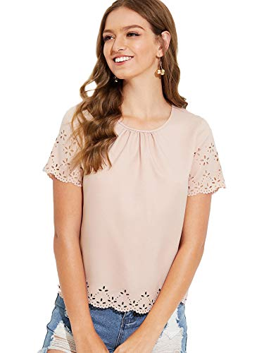 MAKEMECHIC Women's Gathered Neck Cut Out Short Sleeve Shirt Scallop Blouse Laser Cut Top Pink - Out Cut Eyelet