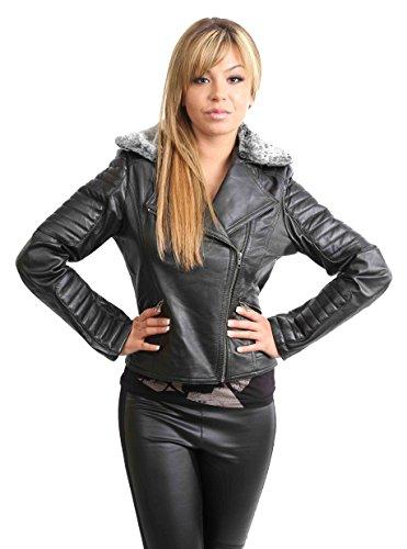 Veste Ajustée en Cuir Pour Femme à Biker Collier en Fausse Fourrure Amovible Joan Noir