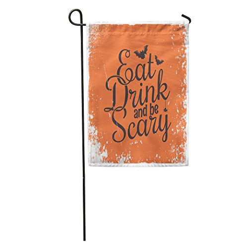 Semtomn Garden Flag Orange Halloween Party Vintage Lettering Eat Drink and Be Scary Home Yard House Decor Barnner Outdoor Stand 28x40 Inches Flag]()